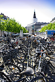 Many bicycles in front of Christiansborg Palace, Slotsholmen, Copenhagen, Denmark