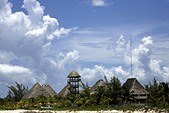 Palm-thatched roofs of Hotel Villa Delfines, on Holbox Island, Quintana Roo, Yucat�n Peninsula, Mexico,