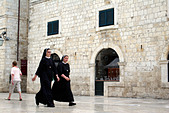 Nuns walking in the Placa Luza, Dubrovnik, Croatia,
