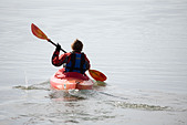 kayaking in the sea in winter, Dell Quay, Chichester, West Sussex, England,