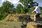 Cyclist on Ham Hill, Somerset, England